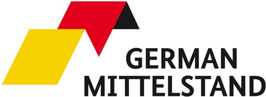 Bildmarke in Gold-Rot und Schriftmarke German Mittelstand Mitt