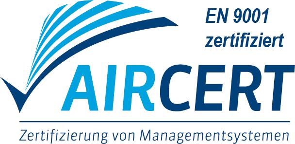 AirCert Logo mit Zusatz EN 9001 zertifiziert