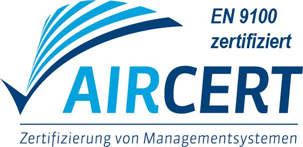 AirCert Logo mit Zusatz EN 9100 zertifiziert